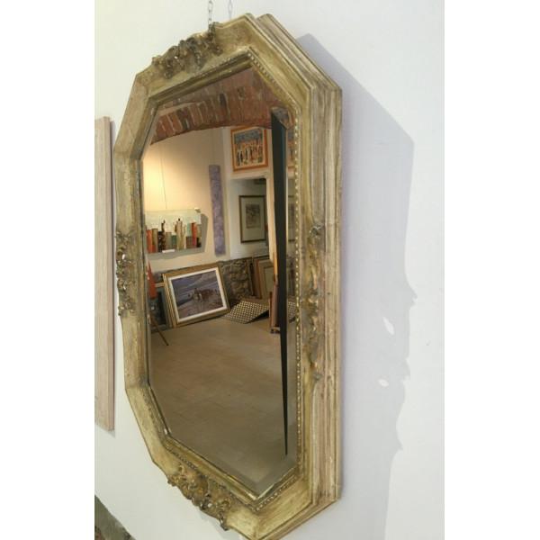 cornice avorio e oro - stile shabby - decapata - Bottega d'Arte Salvadori