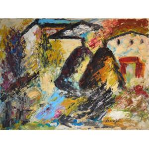 Scardigli Marino - paesaqggio con case